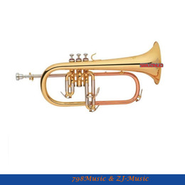 Wholesale Bb Bears - wholesale Gold Flugelhorn Phosphor Copper Pipe Bb Keys With Flugel horn Case Bore 11.3mm Bell 153mm