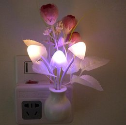 Wholesale Led Mushroom Dream Night Light - Baby Night Romantic Colorful Dream Sensor LED Night Light Lamp Mushroom tulip Flower Plant For Home Bedroom Decoration US Plug