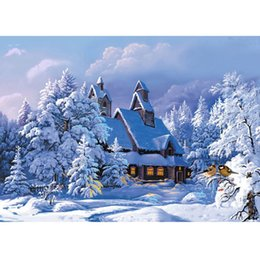 Wholesale Snow Decors - ASLT DIY Diamond Painting 5D Snow night hut Mosaic Cross Stitch Kits Home Decor Handmade Rhinestones Paste Diamont Embroidery