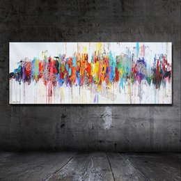 Wholesale Canvas Wall Art Ideas - Modern abstract color pattern hand painted unique design idea oil painting on canvas wall art painting for home decoration