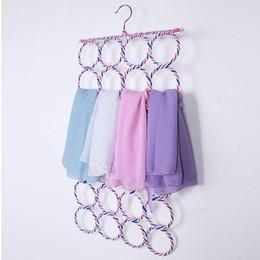 Wholesale Bamboo Hangers - 4 Size Belt Tie Hook Storage Rattan Weave Slots Circle Hanger Rack Scarves Home Shawls Neckties Organizer Holder
