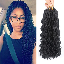 Wholesale 24 Inch Wavy Hair Synthetic - Strands 24'' 24strands 100g Crochet Locs Hair Extensions Low Temperature Braiding Hair Wavy Faux Locs Crochet Braids Bulk