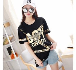 Wholesale T Shirt Eagle Women - Gold foil printing Couple t-shirt Lively hot selling Eagle and Chain winding personalty tshirt dresses free shipping