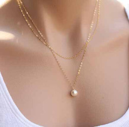 Wholesale Thin Chain Pearls Necklace - Wholesale-New Cute Sweet Girl imitation Pearl Necklaces Fashion Gold & Silver Color Thin Chain Clavicle Chain Necklace for girls FN473