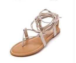 Wholesale High Heels Thong Sandals - 2017 Multiple cross strap tall knee high summer roman sandals bondage thong nubuck suede Gladiator Flat Sandals 35-40