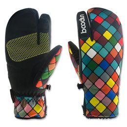 Wholesale waterproof hunting gloves - Fashion Winter Snowboard Gloves for Women Ski Gloves Windproof Waterproof Non-slip Skating Skiing Gloves Cotton Warm Mittens