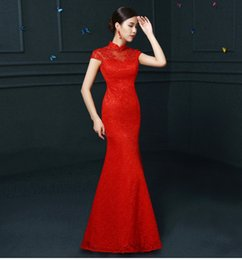 Wholesale Cheongsam Sequin - ALY228 Red Lace Cheongsam Women Chinese Traditional Dress Female Wedding Dress Vestido Oriental Qipao Evening Party Dress
