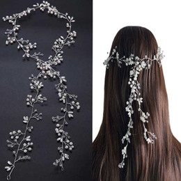 Wholesale Silver Bridal Hair Accessories - Luxury Crystal wedding hair accessories Headband Simulated Pearl bridal hair vine Hairbands Crown Headpiece Bride Tiara Jewelry