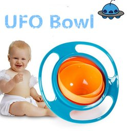 Wholesale Ufo Rotating Bowl - Baby Feeding Rotating Gyro Bowl UFO Bowl Toy 360 degree rotating balance bowl for children Utensils 3 color free shipping