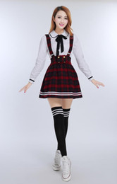 Wholesale Korean Dress Skirt Shirts - Korean School Uniform Girls Jk Cosplay Suit for Women Japanese School Uniform Japones Cotton White shirt + Plaid Straps skirt