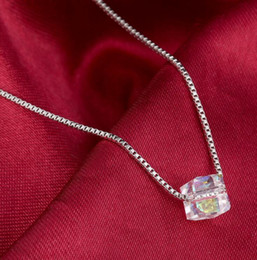 Wholesale Indian Cube - New fashion Dazzle colour Cube Crystal Pendant Necklace Silver Plated box chain Necklace Women Jewelry N405