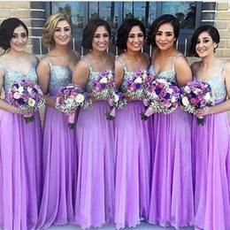 sage olive beaded long dresses Promo Codes - Purple Bridesmaid Dresses 2019 A Line Spaghetti Strap Beaded Sequined Chiffon Wedding Guest Dress Long Pleats Zipper Cheap Party Gowns