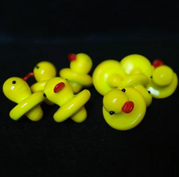 Wholesale Carb Pipe - Duck UFO Carb Cap Solid Colored Glass Yellow Duck dome 24mm for 4mm Thermal P Quartz banger Nails water pipe bongs in stock Wholesale