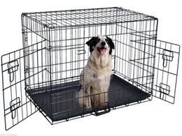 Wholesale Pet Dog Gates - 48'' 2 Doors Wire Folding Pet Crate Dog Cat Cage Suitcase Kennel Playpen w  Tray