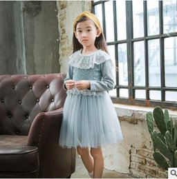 Wholesale Doll Boat - Kids princess dresses Girls cute doll collar lace dress children long sleeve tulle TUTU dress Autumn new sweet girls clothing G1053