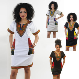 Wholesale Plus Size Dresses Printed - African Dresses For Women Indian Print Plus Size Dashiki Clothing Robe Femme Boho Dashiki Fabric Summer Sexy Hippie