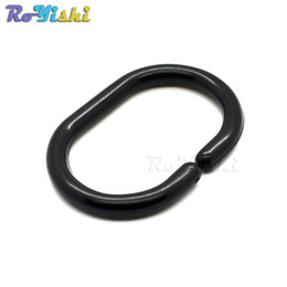 Wholesale Curtain Buckles - 50pcs lot 58*40.5mm White Plastic Shower Curtain Ring Hook Buckle For Curtain Accessories