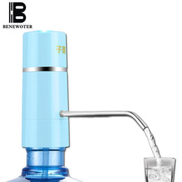 Wholesale Drinking Glassware - Wholesale- Easy Pump Water Tap Faucet Wireless Electric Rechargeable Water Dispenser Battery Drinking Water Bottles Kitchen Drinkware Tool