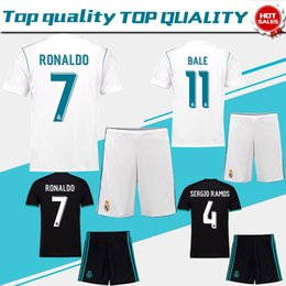 Wholesale Shorts Suits - Real Madrid Home white Soccer Jersey suit 17 18 Real Madrid away black soccer shirt kit 2018 Ronaldo Football uniforms Asensio jersey+shorts