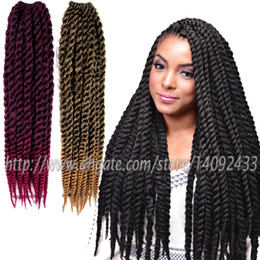 Wholesale Hair Braid Blonde - crochet hair extensions havana mambo twist braid kanekalon senegal twist braids synthetic braiding hair extensions ombre hair 12roots PACK