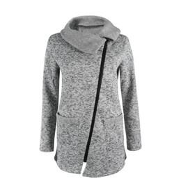 Wholesale Womens Long Winter Scarf - Womens Winter Warm Long Sleeve Inclined Zipper Hooded Jacket Casual Coat Sweatshirt Outwear Coat