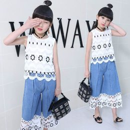Wholesale Denim Shirts For Girls - Retail Suit for Girls Summer Children Denim Lace Wide Leg Pants+ Sleeveless T Shirt Two Pieces Girl Casual Summer Clothing Sets XYT001