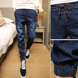 Wholesale boys moustache - Wholesale-HOT Fashion Vintage Moustache jeans Effect Elastic Waist Joggers Teenagers Boys trousers beam Foot Halem jeans Men Demin Slim