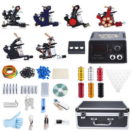 Wholesale Pin Stores - 2017 Professional Tattoo Kit 6 Machine Guns Shader Liner Power Supply 50 Needles Tip with Store Box Tattoo Set Three Pin US Plug