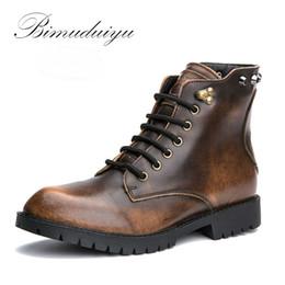 Wholesale Leather Men Boots Brown Color - Wholesale-BIMUDUIYU Metallic Color Single Winter Plush Rivet Leather Men Boots Vintage Casual Motorcycle Martin Boots Large Size 11 Hot