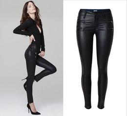 Wholesale Imitation Leather Pants - Wholesale- Hot Imitation PU Leather Long Skinny Pants 2017 Womens Fall Fashion Female Strech Slim Black PU Leather Low Waist Pencil Pants