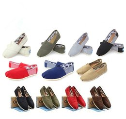 Wholesale Men Canvas Shoe Wholesale - solid color hot brand new women and men canvas shoes canvas flats loafers casual single shoes solid sneakers shoes shoe FREE shipping