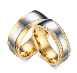 Wholesale 14k Gold Couple Rings - Stainless Steel Couples Rings Fashion Room Gold Micro Inlaid 3A Zircon Ring Rings