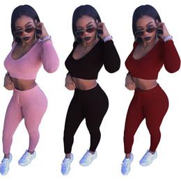 Wholesale Black Hooded Bodysuit - Women's Clothing 2 piece set women 2017 new spring autumn black bodysuit women sets pink striped crop top +pants tracksuit two piece set