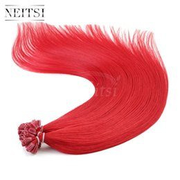 """Wholesale Tip Human Hair Extension Red - Neitsi 20"""" Woman Nail U Tip Hair Extensions Fashion Straight 100% Remy Human Hair 1g s 100pcs lot Red#"""