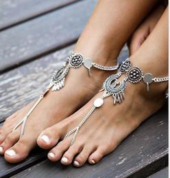Wholesale Vintage Shoe Plates - 50PCS Vintage Antique Silver Retro Coin Anklets For Women Yoga Ankle Bracelet Sandals Brides Shoes Barefoot Beach Gifts F115