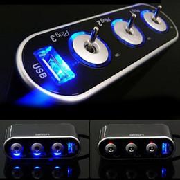 12-вольтовый автомобильный адаптер Скидка Оптово-универсальный автомобильный USB-порт 3-проводной прикуриватель Зарядное устройство для сплиттеров Автомобильное зарядное устройство Адаптер питания DC 12V + LED Light Switch