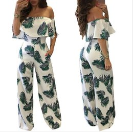 Argentina 2018 Nuevo estilo Jumpsuits de mujeres Longitud total Recta Moda Off Shoulder Women Jumpsuit for Summer Suministro