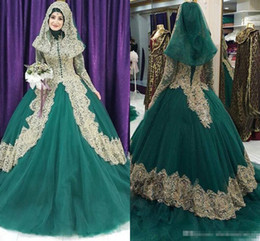 Wholesale Hijab Wedding Dresses Plus Size - 2017 Muslim Hunter Ball Gown Wedding Dresses with Golden Lace Appliques Long Sleeves with Hijab Plus Size Bridal Wedding Gowns Custom Made