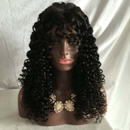 Wholesale Long Curly Heavy Wig - 300 Density Kinky Curly Human Hair Wig With baby hair Very Heavy Density Brazilian Lace front Wigs for Black Women
