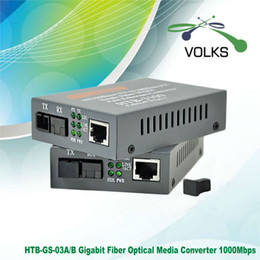Wholesale Media Converter Single Mode - Wholesale- 1 Pair HTB-GS-03 A B Gigabit Fiber Optical Media Converter 1000Mbps Single Mode Single Fiber SC Port 20KM External Power Supply