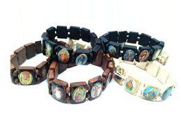 Wholesale Religious Supplies - Top sale 24pcs lot Religious Catholic jewelry black coffee Christ wood color bracelet Christian supplies wooden icon Elastic Rosary bracelet