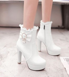 Wholesale Roman Sweets - Wholesale New Arrival Hot Sale Specials Super Influx Warm Noble Martin Leather Sweet Princess Bow Diamond Party Heels Ankle Boots EU34-43