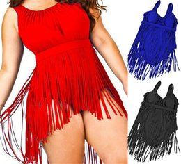 Wholesale Wholesale Plus Size Swimsuits - Hot Sexy Swimwear For Women Push Up Padded One Piece Swimsuit Women Plus Size Tassels Bathing Suits XL-5XL