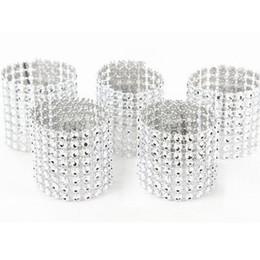 Wholesale Diamonds Wedding Table Decor - Wholesale- 50pcs 8Rows Diamond Mesh Rhinestone Bow Covers Holders Wedding Napkin Rings DIY Decorations Table Decor Craft Wholesale