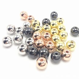 Wholesale 2mm Hole Round Beads - 6x6mm Hole 2mm Environmental Brass Round Bead Spacers Lead Free & Cadmium Free & Nickel Free Rose Gold