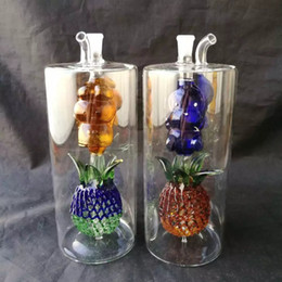 Wholesale Large Pineapple - Large Pineapple Water Hook Glass Glass Bongs Accessories   , Colorful Pipe Smoking Curved Glass Pipes Oil Burner Pipes Water Pipes Dab Rig G