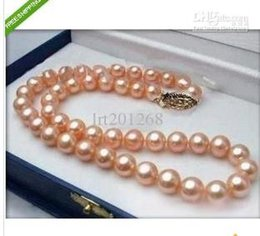 """Wholesale 14k Yellow Gold Chain 18 - HOT 18""""9-10MM AKOYA PERFECT AAA GOLD PINK PEARL NECKLACE 14K YG"""