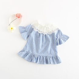 Wholesale Lace Bell Sleeves - Everweekend Girls Stripes Lace Neckline Tees Ruffles with Bell Sleeve Sweet Children Baby Kids Summer Clothing Tops