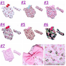 Wholesale 7colors Short - 0-3T Baby Rompers+Headbands set floral print 2017 Girl Summer cotton Romper with Bow Girls Ruffled Jumpsuit 7colors  4 size choose