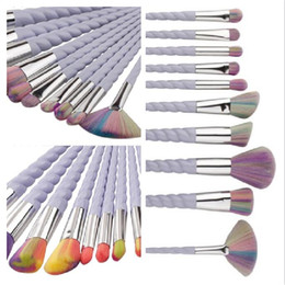 Wholesale Eyes Foundation - 10Pcs Hot Makeup Brushes Set Professional Powder Foundation Eyeshadow Lip Eye Liner Cosmetic Brush Kit Maquillaje Shaving Drop Shipping